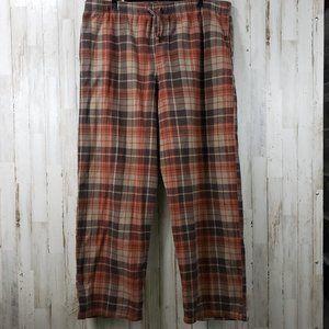 Cabela's Mens Lounge Pants Brown Orange Plaid